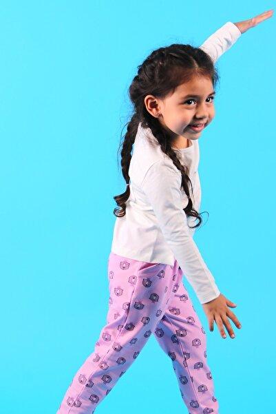 Breeze Kız Bebek Tayt Pantolon Kral Taçlı Ayı Desenli Pembe (9 Ay-3 Yaş)