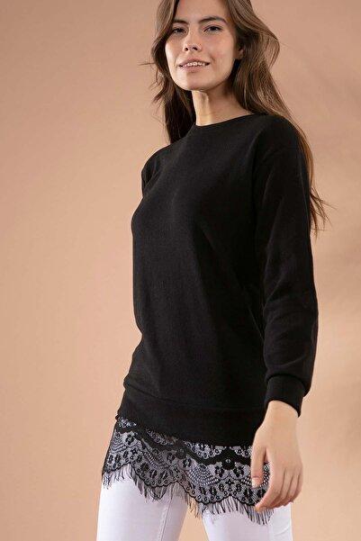 Y-London Kadın Siyah Dantel Detaylı Selanik Örgü Sweatshirt 23322