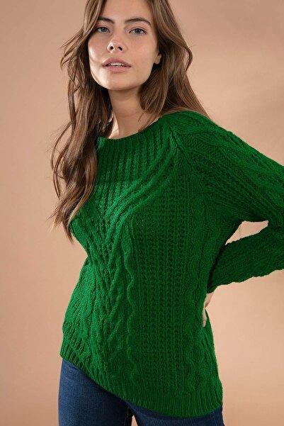 Y-London Kadın Yeşil Örgü Desen Yuvarlak Yaka Triko Kazak 5584 Y19W143-5584