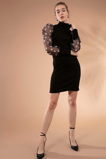Y-London Kadın Siyah Puantiyeli Organze Kol Boğazlı Triko Elbise 4110 Y19W110-4110