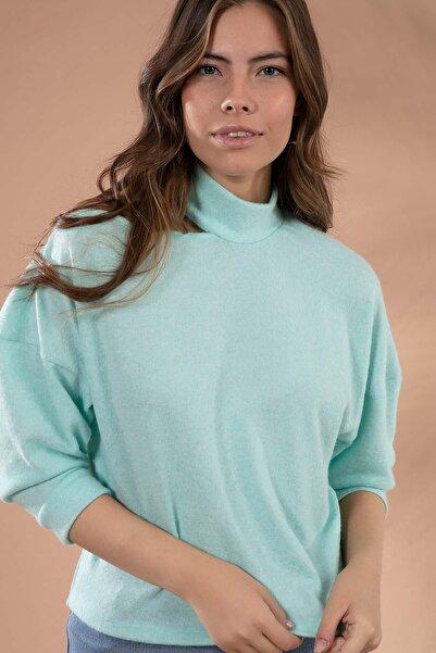 Y-London Kadın Mint Yeşili Omuz Dekolteli Uzun Kollu Triko Bluz Y20W145-F005