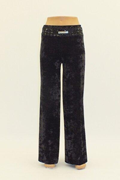 Otto Kadın Siyah Kadife Melanjlı Bolpaça Pantolon