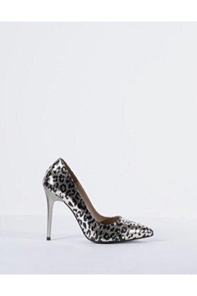 Vision Kadın Platin Sarı Leopar Desen Topuklu Ayakkabı