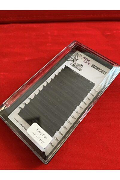 New Life Kolay Volume Ipek Kirpik D Kıvrım 0,05 Kalınlık Mix Kutu - (9-10-11-12-13-14mm Uzunluk Aynı Kutuda)