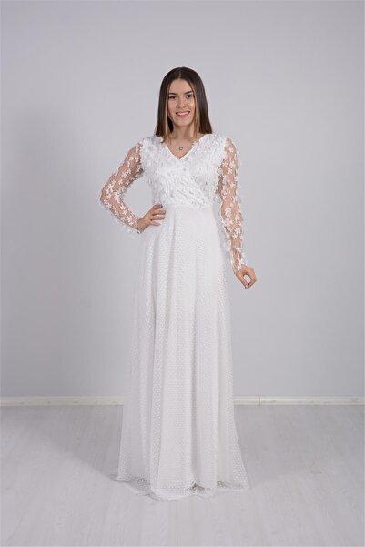 giyimmasalı Kadın Beyaz Üç Boyutlu Çiçekli Elbise
