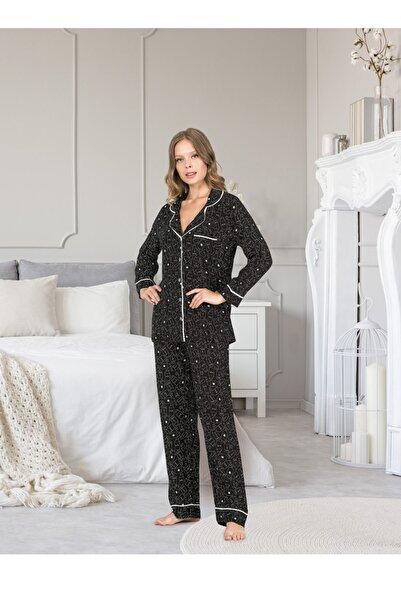 DOREA Kadın Siyah Önden Düğmeli Uzun Kollu Pijama Takımı 1275