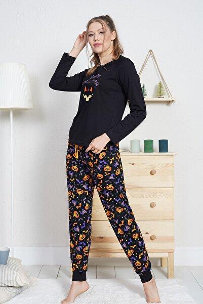 VİENETTA Kadın Siyah Uzun Kol Normal Beden Desenli Desen Pijama Takım