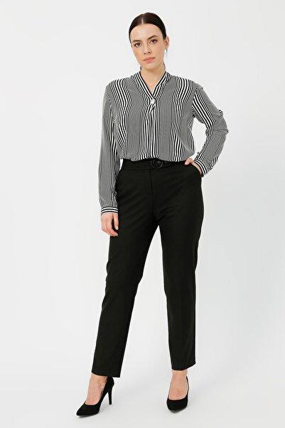Kadın Siyah Beli Tokalı Pantolon 20K.EKL.PNT.03003.1