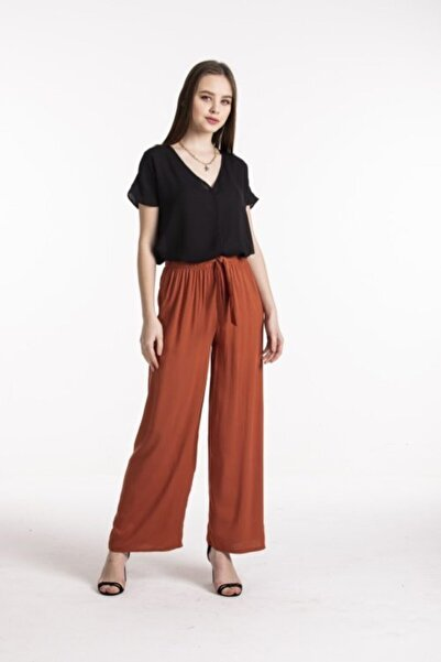 Vision Kadın Kiremit Yüksek Bel Bol Pantolon