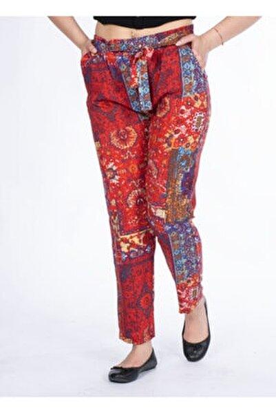 Kadın Turuncu Desenli Pantolon