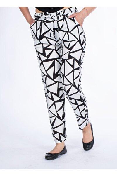 Vision Kadın Beyaz Desenli Pantolon