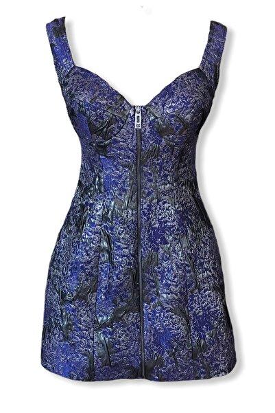 Barrus Kadın Mor Dokulu Kumaş Elbise