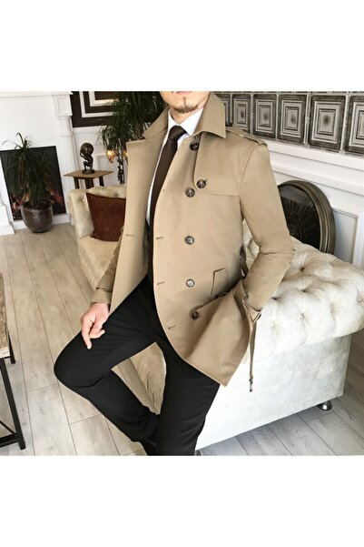 TerziAdemAltun Erkek Bej Italyan Stil Slim Fit Mevsimlik Trençkot T4978