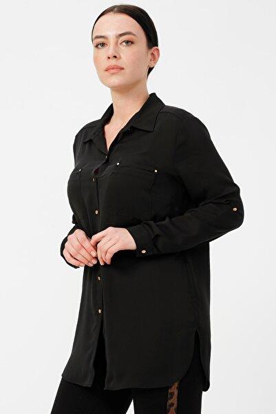 Ekol Kadın Siyah Önden Düğmeli Gömlek 20K.EKL.BLZ.02025.1