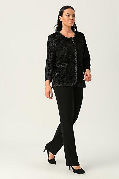 Ekol Kadın Siyah Kendinden Desenli Kadife Ceket 20K.EKL.CKT.06503.1