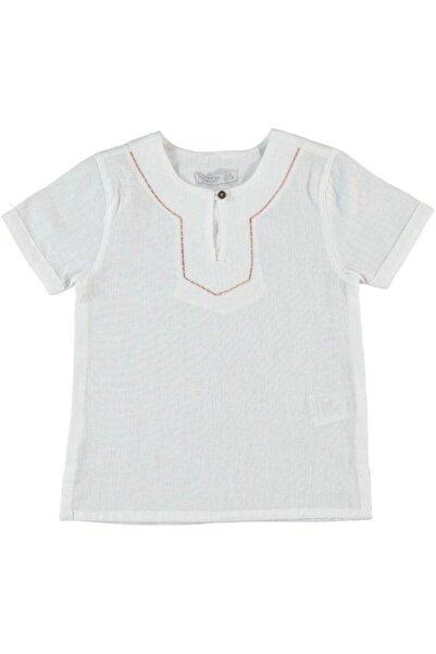 Monna Rosa Erkek Beyaz Çocuk Keten Gömlek