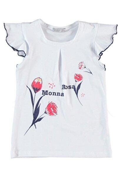 Monna Rosa Kız Çocuk Beyaz Çiçek Baskılı T-shirt