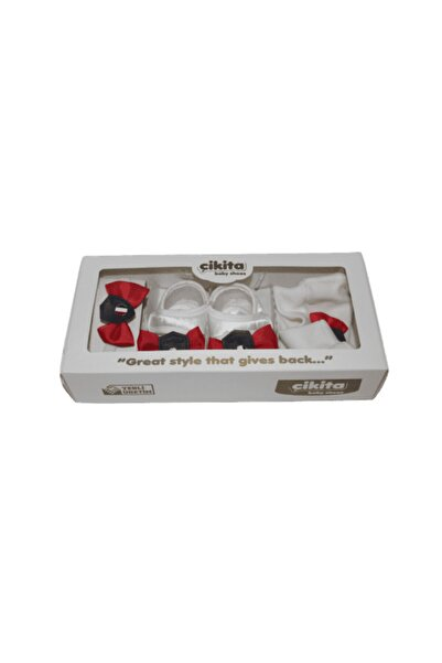 GEZER Hastane Çıkış Seti Bere Ayakkabı Papyon 02750