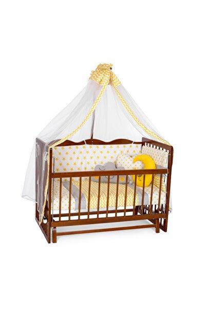 Carino Wins Ahşap 60 x 120 Ceviz Renk Sallanır Anne Yanı Beşik Uyku Setli ve Yataklı Asycvz60x120sy
