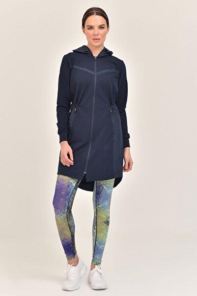 bilcee Lacivert Kadın Uzun Ceket GS-1522