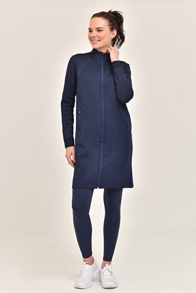 bilcee Lacivert  Kadın Uzun Ceket GS-1516
