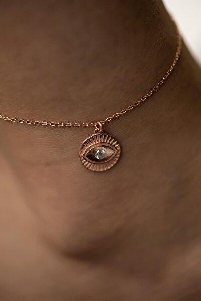 İzla Design Göz Model Zirkon Taşlı Rose Kaplama Gümüş Halhal