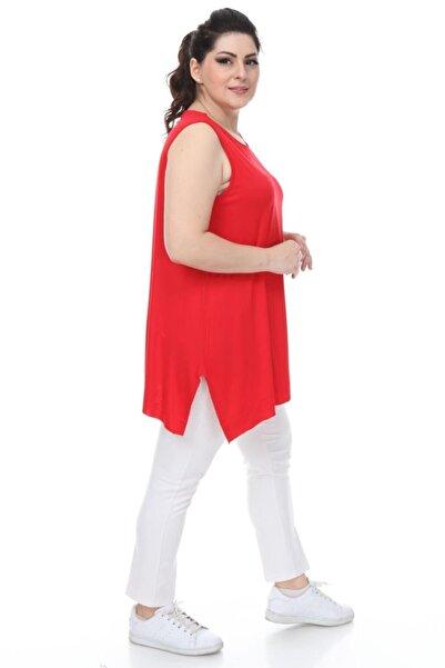 Z PLUS Kadın Yırtmaçlı Sıfır Kol Kırmızı Tunik