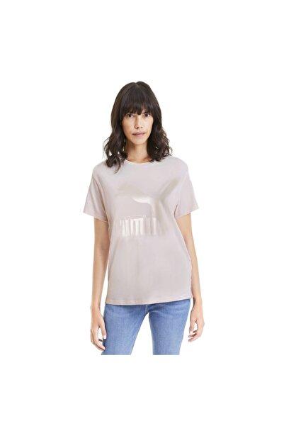 Puma Kadın Pembe Classics Logo Baskılı Tişört