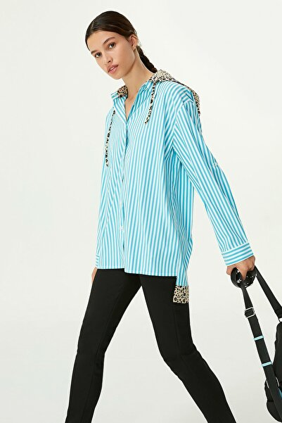 Twist Kadın Mavi Kapüşonlu Gömlek TW6200025051089
