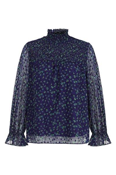 Twist Kadın Mavi Çiçek desen bluz TW6200006102