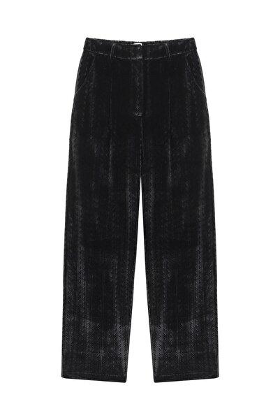 Twist Kadın Siyah Kadife form pantolon TW6200003083