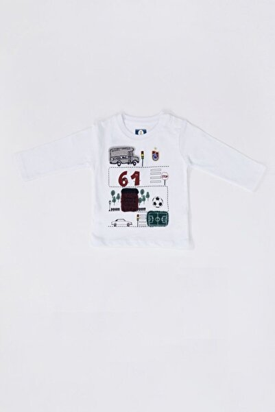 TSCLUB Unisex Bebek Beyaz 61 Logolu Sweatshirt