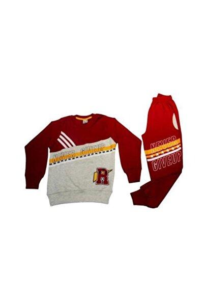 Tarık Erkek Çocuk Kırmızı Never Stop Baskılı  Pjama Takımı
