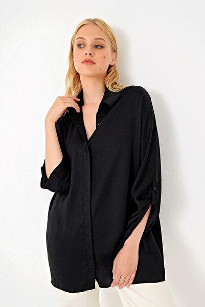 Trend Alaçatı Stili Kadın Siyah Boyfriend Gizli Patlı Saten Gömlek ALC-526-146