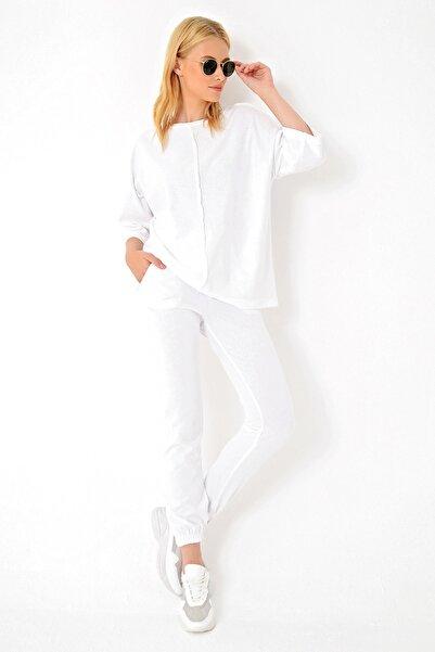 Trend Alaçatı Stili Kadın Beyaz Önü Dikişli Eşofman Takımı ALC-X4926