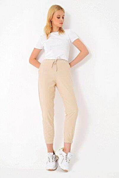Trend Alaçatı Stili Kadın Bej Polar Pantolon ALC-X4910