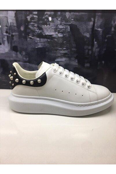 ALEXANDER MCQUEEN Erkek Beyaz Zımbalı Sneaker