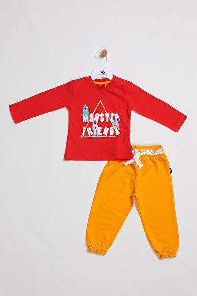 Wonder Kıds Erkek Bebek Kırmızı Pamuklu Monster Baskılı Swetshirt Eşofman Takım