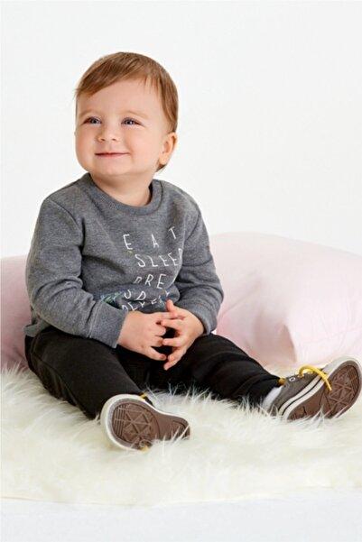 Wonder Kıds Erkek Bebek Gri  Pamuklu Yazı Baskılı Çıtçıtlı Sweatshirt Eşofman Takım