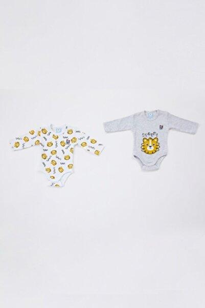 TSCLUB Unisex Bebek  Gri Beyaz Ikili Zıbın