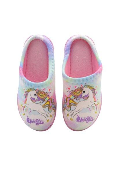 Kid's World Kız Çocuk Pembe Unicorn Desen Ev Terliği