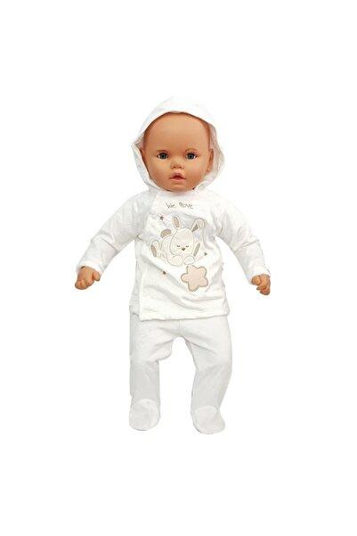 bebegen Kapşonlu Nohut Desenli Beyaz 2'li Polar Bebek Takımı
