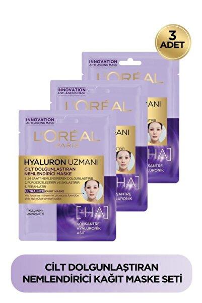 L'Oreal Paris 3'lü Hyaluron Uzmanı Cilt Dolgunlaştıran Nemlendirici Kağıt Yüz Maskesi - Hyaluronik Asit Seti