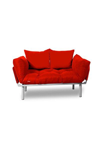 Dekoro Ikili Yataklı Kanepe Tekli 2'li Çift Kişilik Koltuk Ev Ofis Balkon Teras Kanepesi - (kırmızı)