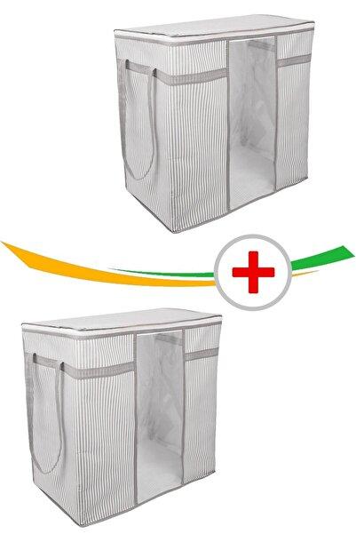 Vivyan 2 Adet Pencereli Saklama Kıyafet Çamaşır Hurcu Çizgili Model 45 X 30 X 50 Cm.
