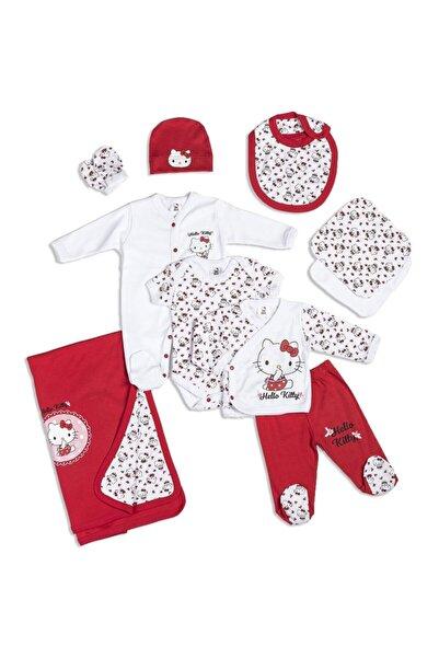 Hello Kitty Nakışlı 10 Parça Kırmızı Kız Bebek Hastane Çıkışı