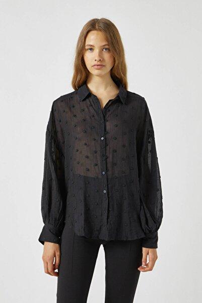 Pull & Bear Kadın Siyah Puantiye Desenli Tül Gömlek 09470346
