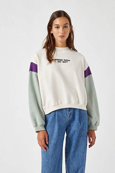 Pull & Bear Kadın Buz Rengi Kontrast Blok Renkli Sweatshirt 09594338