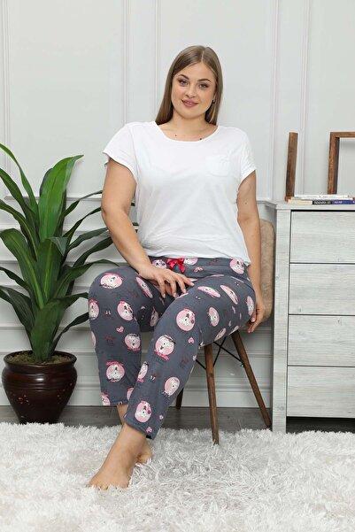 modalove Kadın Desenli Mevsimlik Büyük Bedentek Pijama Altı