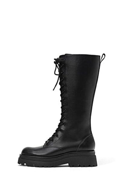 Kadın Siyah Bağcıklı Düz Flatform Tabanlı Diz Altı Çizme 19852670